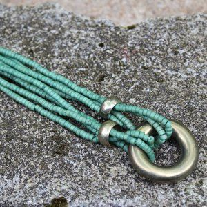 Green Gold Tribal Boho Egyptian Necklace